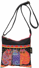 Crossbody Purse Zipper Top Feline Friends - Click to enlarge