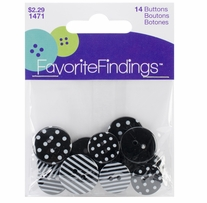 Favorite Findings Buttons Dots and Stripes Black, White 14/Pkg
