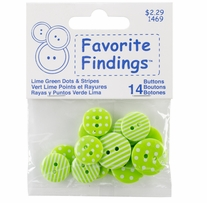 Favorite Findings Buttons Dots and Stripes Lime, White 14/Pkg