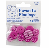 Favorite Findings Buttons Dots and Stripes Pink, White 14/Pkg