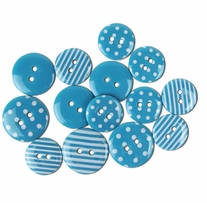 Favorite Findings Buttons Dots and Stripes Turquoise, White 14/Pkg