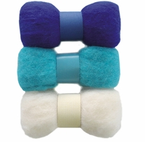 Feltworks Roving Trio Pack Blue, Turquoise & White