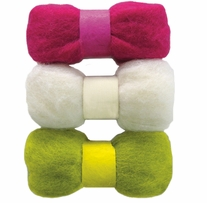 Feltworks Roving Trio Pack Fuchsia, Lime & White