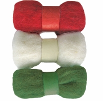 Feltworks Roving Trio Pack Red, White & Green