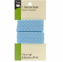 Fold Over Elastic Blue Dot 1in x 1yd