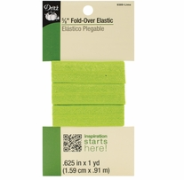 Fold-Over Elastic Lime 5/8inX1 Yard