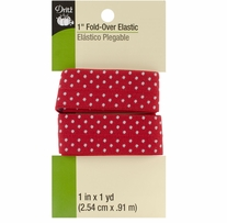 Fold Over Elastic Red Dot 1in x 1yd