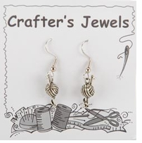 French Wire Earrings With Clear Keepers Knitting Needles