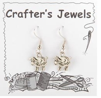 French Wire Earrings With Clear Keepers Sheep