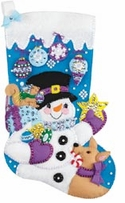 Frosty's Favorite Ornament Stocking Felt Applique Kit 18in Long