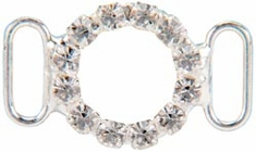 Genuine Rhinestone Buckle 35mm Circle Silver - Click to enlarge