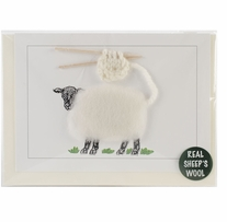 Hand Made Sheep Card White Knitting