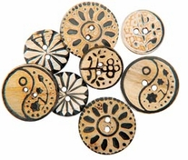 Handmade Bone Buttons Carved Designs Circle Flower
