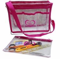 Handy Caddy with Strap And Zipper Project Bag 8x11x5 Hot Pink