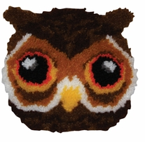 Huggables Owl Pillow Latch Hook Kit 12inx12in