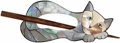 Inlaid Mother Of Pearl Shawl Pin Cat - Click to enlarge