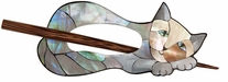 Inlaid Mother Of Pearl Shawl Pin Cat