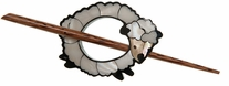 Inlaid Shell Shawl Pin White Sheep