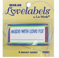 Iron-On Lovelabels Made With Love Blue 4/Pkg