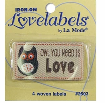 Iron-On Lovelabels Owl You Need Is Love 4/Pkg