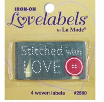 Iron-On Lovelabels Stitched With Love 4/Pkg
