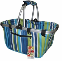 JanetBasket Blue Stripes Large Aluminum Frame Bag 18inX10inX9 1/2in