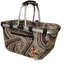 JanetBasket Large Aluminum Frame Bag Chocolate Swirl