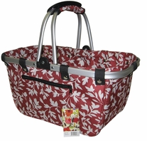 JanetBasket Red Floral Large Aluminum Frame Bag 18inX10inX9 1/2in