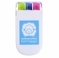 Knit Happy Gel Highlighters Pink, Blue, Yellow