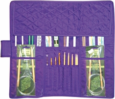 Knitting Needle Case Purple Quilted Cotton - Click to enlarge