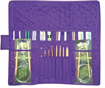 Knitting Needle Case Purple Quilted Cotton