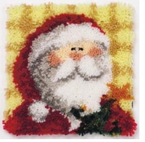 Latch Hook Kit 12inx12in Ho Ho Santa Pillow