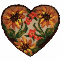 Latch Hook Kit Shaped Autumn Floral Heart 30inx27in
