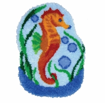 Latch Hook Kit Shaped Seahorse Globe 27inx20in