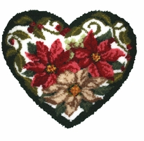 Latch Hook Kit Shaped Winter Floral Heart 30inx27in