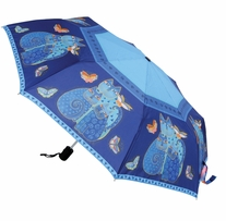 Laurel Burch Compact Umbrella Indigo Cats