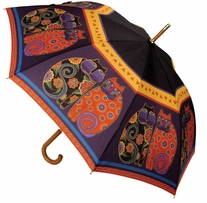Laurel Burch Stick Umbrella Feline Family Portrait