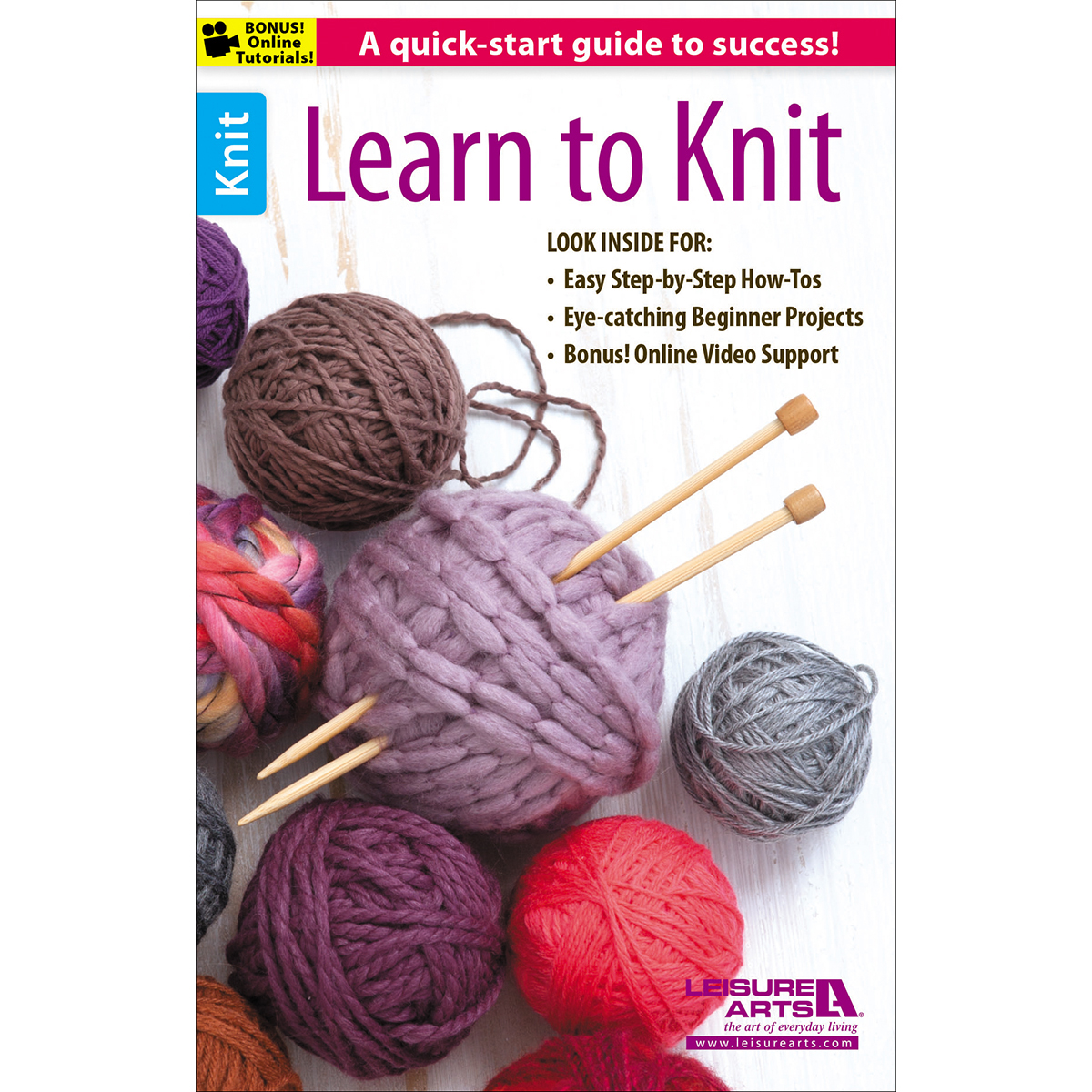 Learn To Knit : ... ? How to Knit Knitting Instruction ? Leisure Arts Learn To Knit