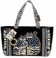 Medium Tote W/Zipper Top 15 1/2inX4 1/2inX10in Spotted Cats