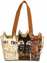Medium Tote Zipper Top Ancestral Cats