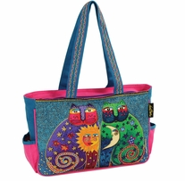 Medium Tote Zipper Top Celestial Felines