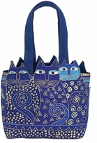 Medium Tote Zipper Top Tres Gatos Blue, Gold