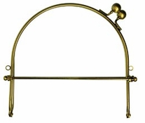 Metal Purse Frame w/Ball Clasp & Loops 6in Gold