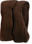 Natural Wool Roving Brown
