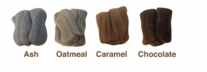 Natural Wool Roving Felt Ash, Oatmeal, Caramel, Chocolate