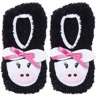 Novelty Slippers Black Cow