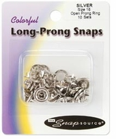 Open Long Prong Snaps Size 16 Silver