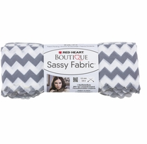 Red Heart Boutique Sassy Fabric Yarn Grey Chevron