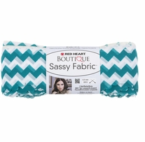 Red Heart Boutique Sassy Fabric Yarn Teal Chevron