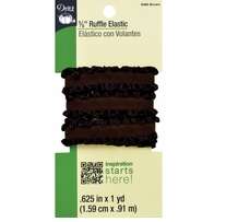 Ruffle Elastic Brown 5/8in x 1yd